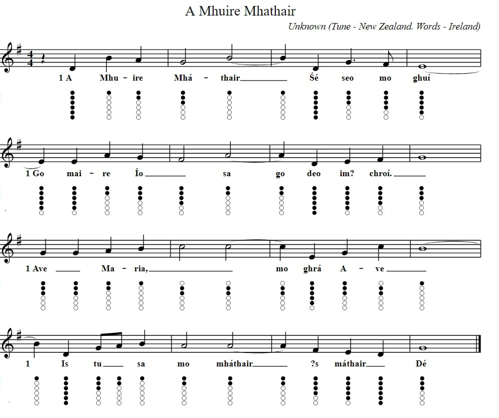 A Mhuire Mhathair Irish sheet music and tin whistle notes
