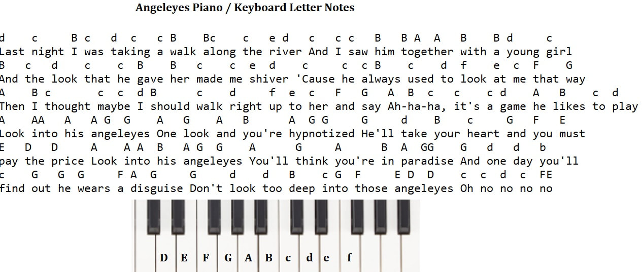Angeleyes piano keyboard letter notes