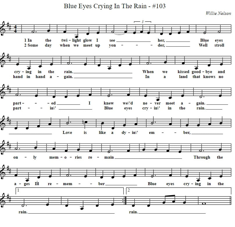 Blue eyes crying in the rain sheet music in the key of D Major