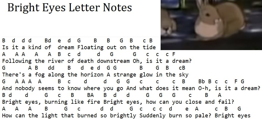Bright Eyes tin whistle letter notes
