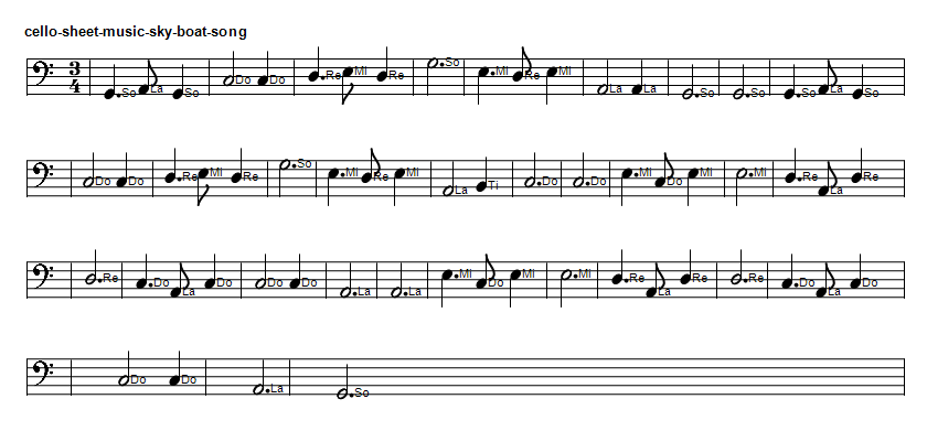 Cello sheet music for the Skye boat song in G