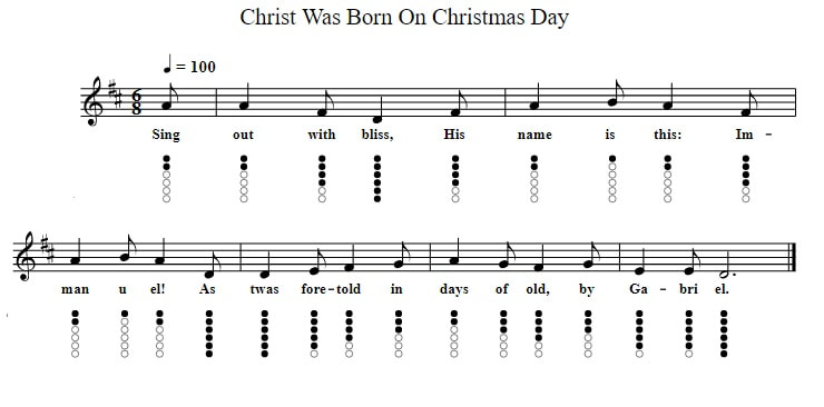 Christ was born on Christmas day sheet music and tin whistle notes in D Major