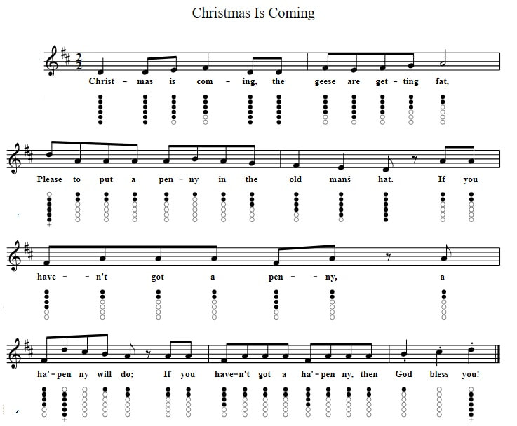 Christmas Is Coming The Geese Are Getting Fat Tin Whistle Sheet Music