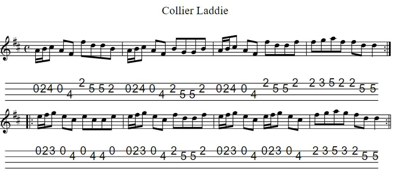 The Collier Laddie Sheet Music For Mandolin / 4 String Banjo