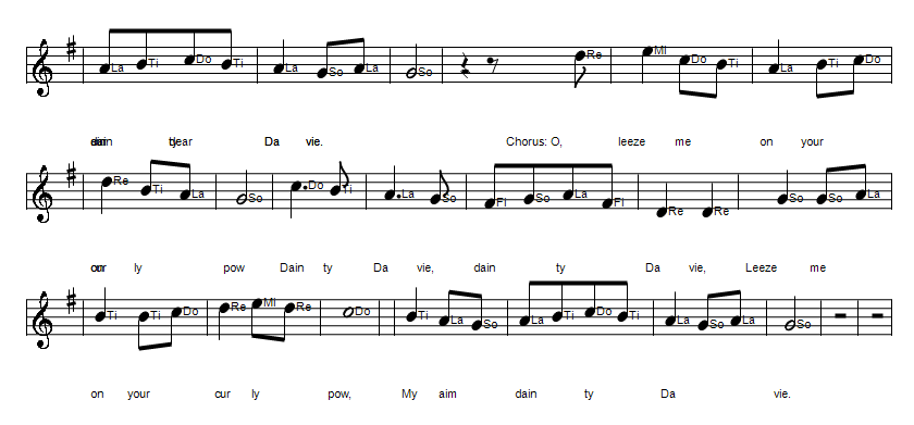 Dainty Davie folk song sheet music notes in solfege part 2 in D Major