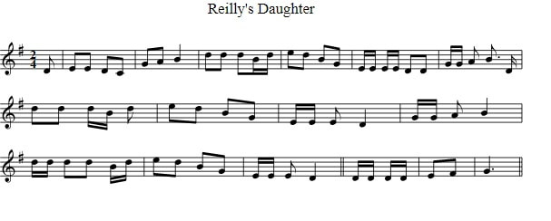 Reilly's Daughter sheet music notes