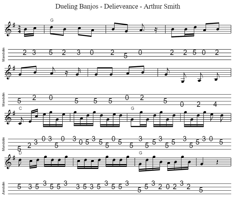 Dueling banjos 4 string banjo sheet music