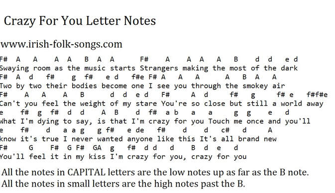 Crazy for you letter notes by Madonna