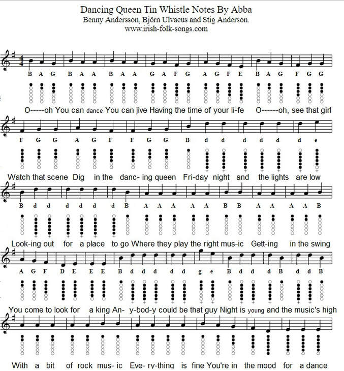 Dancing Queen Tin Whistle tab / Notes By Abba