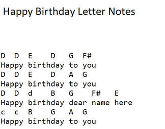 Happy birthday recorder and flute letter notes