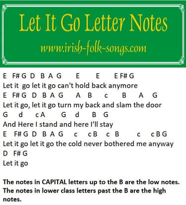 Let it go music letter notes from Frozen