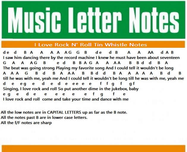 Rock and roll tin whistle letter notes