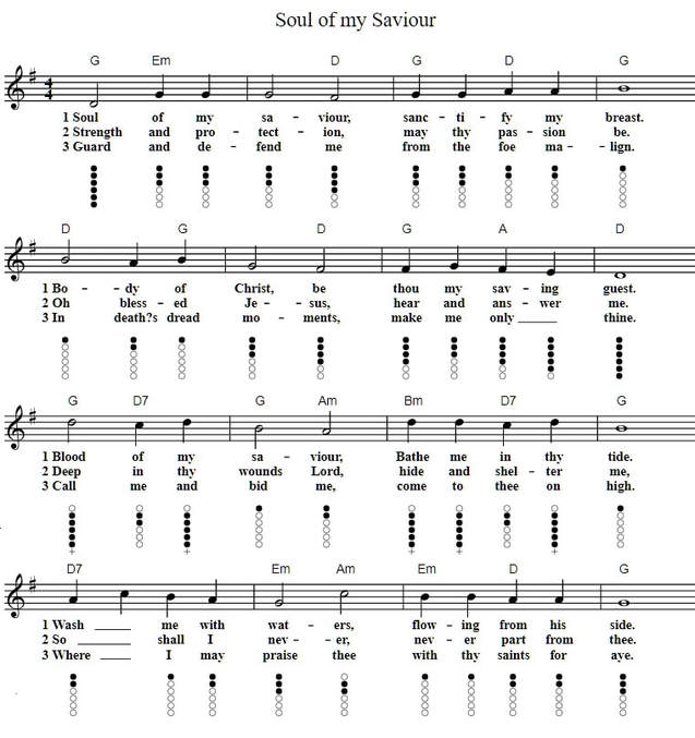 Soul Of My Savior tin whistle sheet music notes