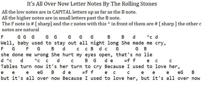 Its All Over Now The Rolling Stones letter Notes