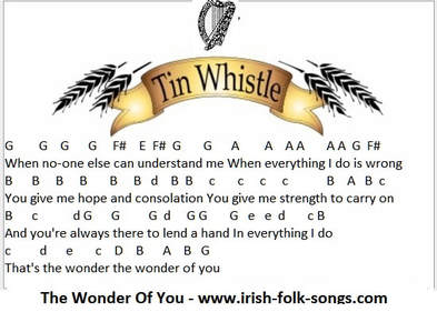 The wonder of you tin whistle letter notes