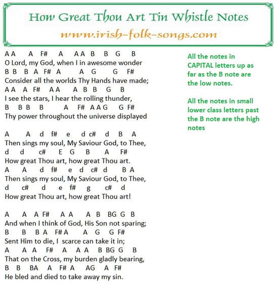 How great thou art tin whistle letter notes