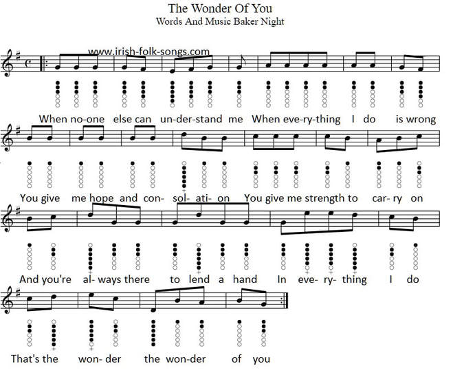 The wonder of you tin whistle sheet music