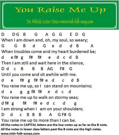 You raise me up letter notes for tin whistle