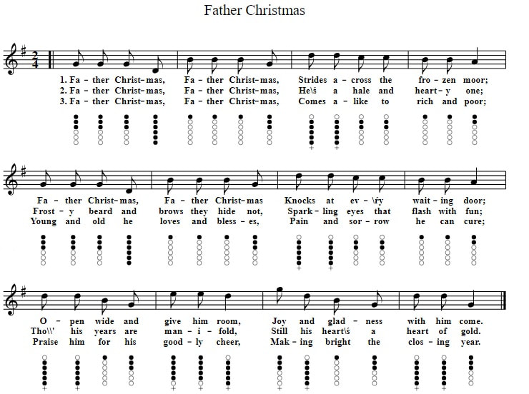 Father Christmas sheet music and tin whistle notes
