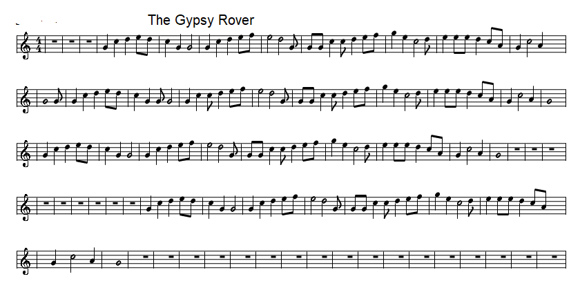 The Gypsy Rover Easy Sheet Music