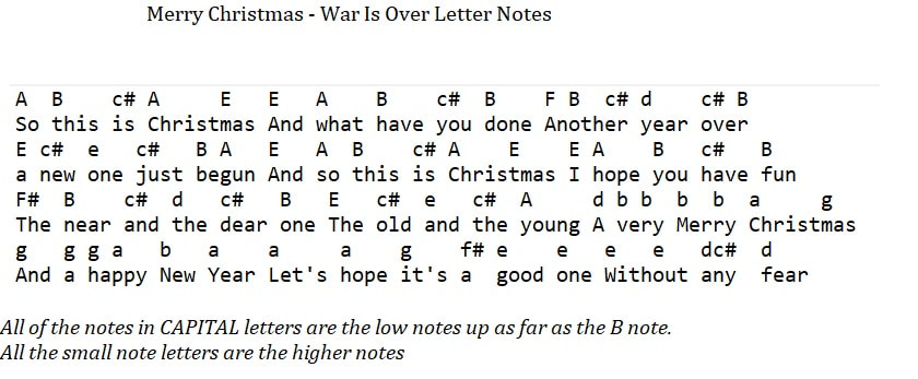 Happy Christmas war is over letter notes for flute recorder and tin whistle