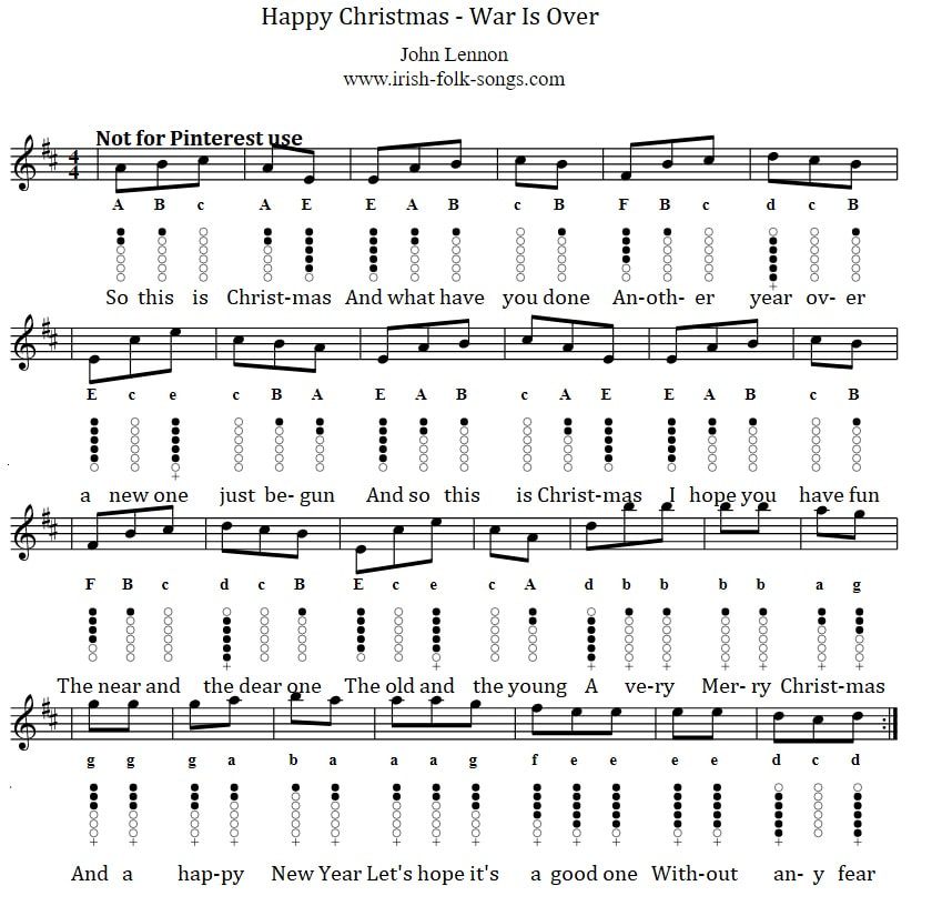 Merry Christmas War Is Over John Lennon Tin Whistle Sheet Music Notes