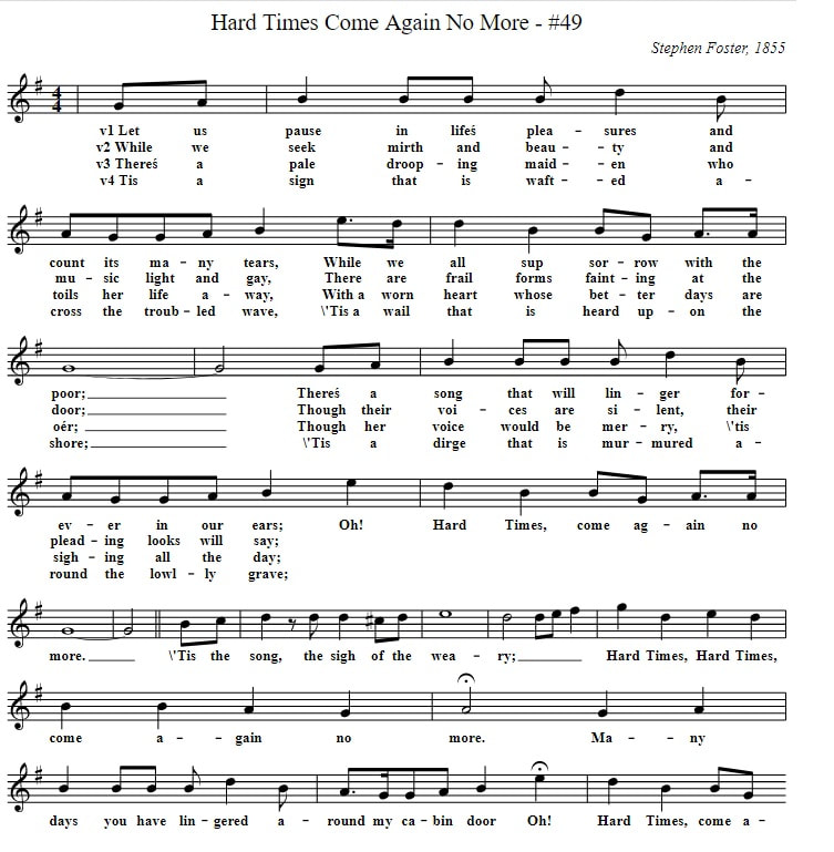 Hard Times Come Again No More Sheet Music Notes In G Major With Lyrics