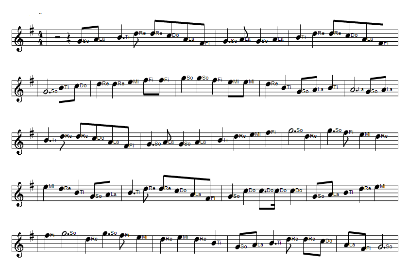 The holy ground sheet music notes in Solfege