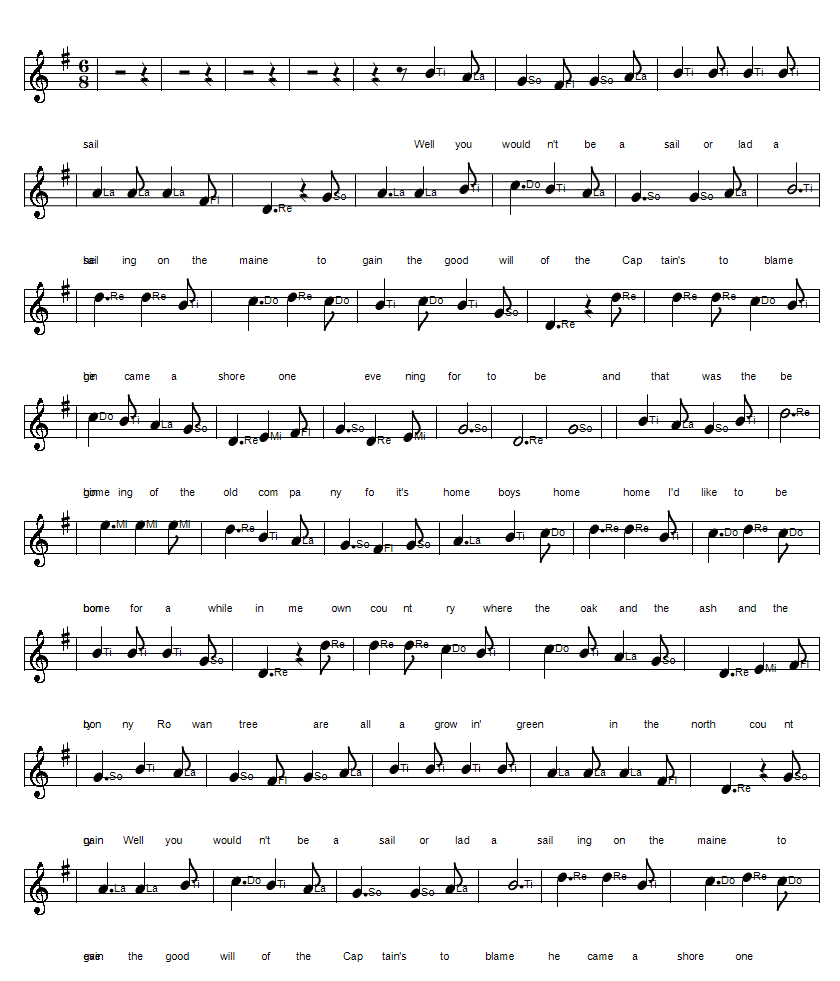Home boys home sheet music notes to an Irish folk song in solfege Do Re Mi format