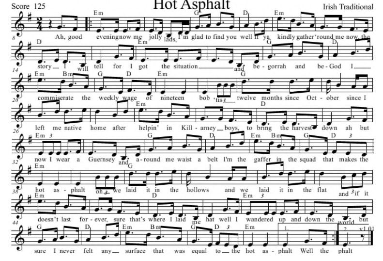 Hot asphalt sheet music