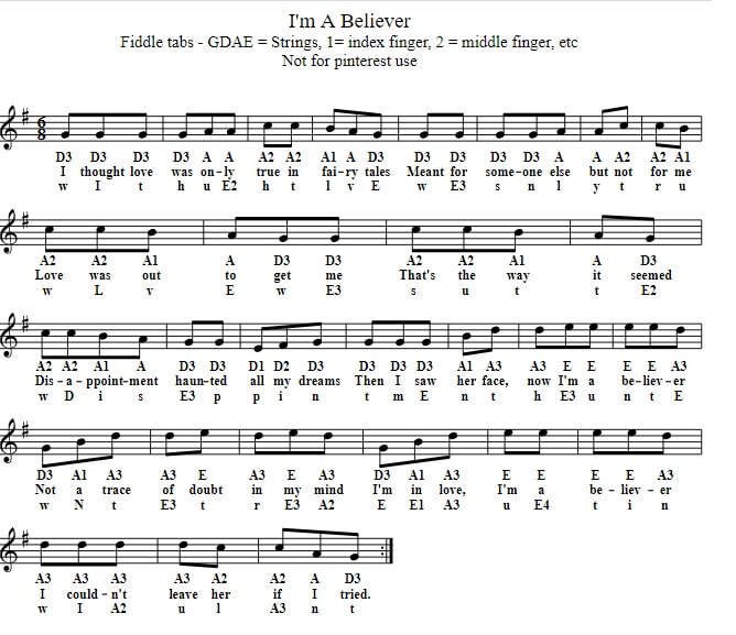 I'm a believer beginner sheet music for violin