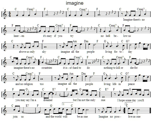 Imagine sheet music by John Lennon