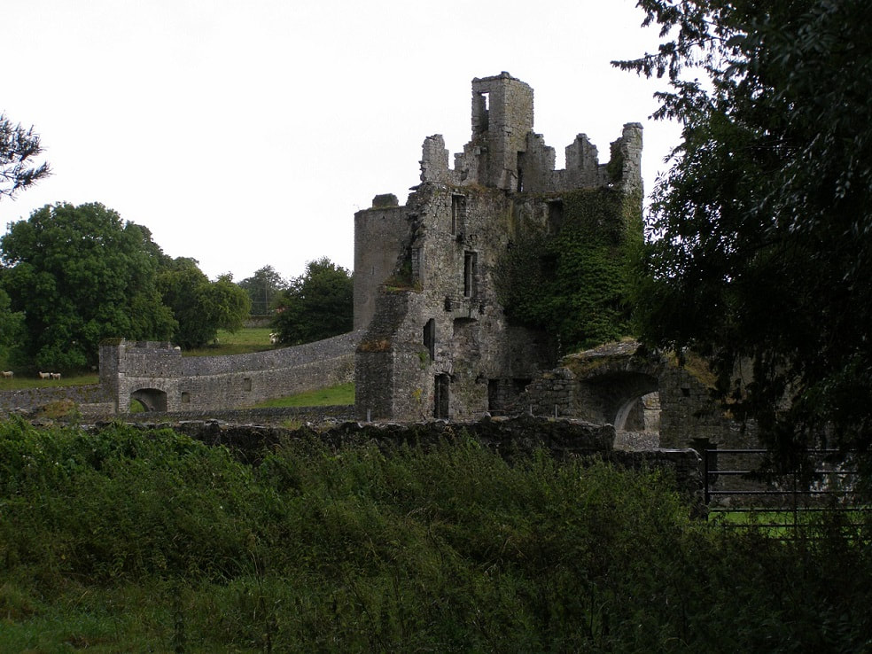A Large Irish castle ruins and stone built walls