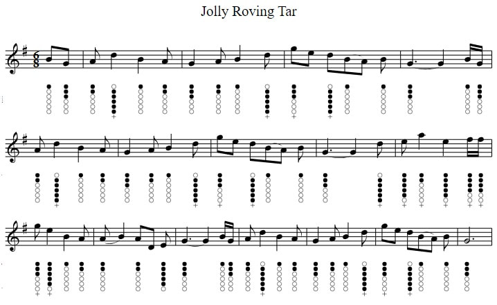 Jolly roving tar tin whistle sheet music