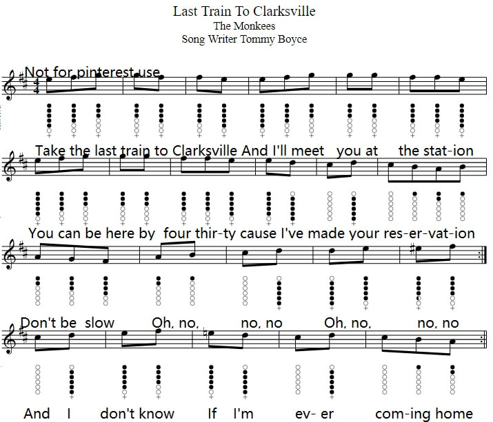 Last train to Clarksville tin whistle sheet music