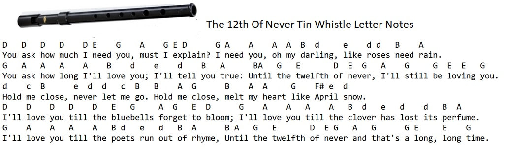 Letter notes for the 12th of never for the tin whistle