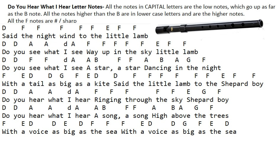 Do you hear what I hear letter notes