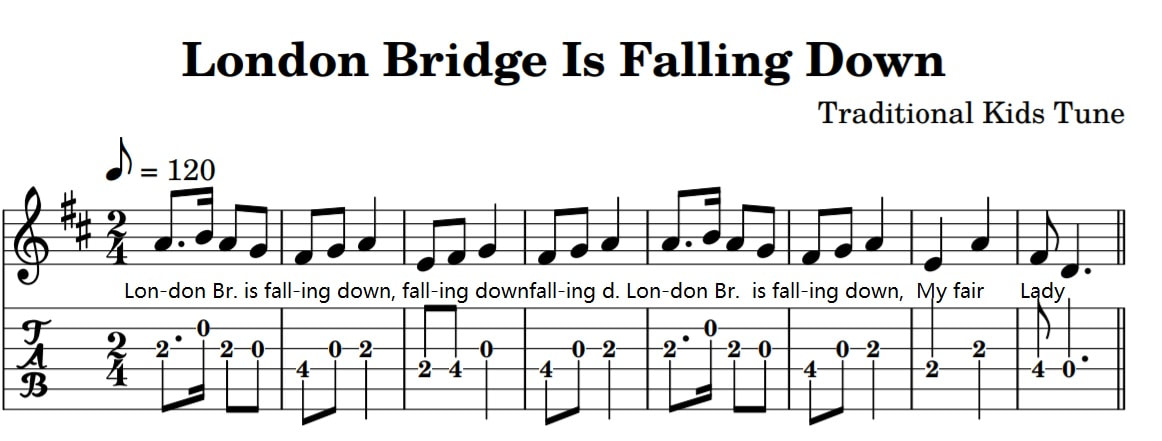 London bridge is falling down guitar tab