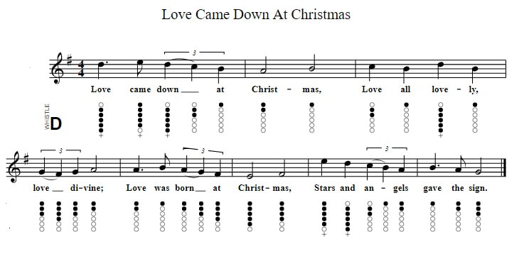 Love came down at Christmas sheet music and easy tin whistle notes