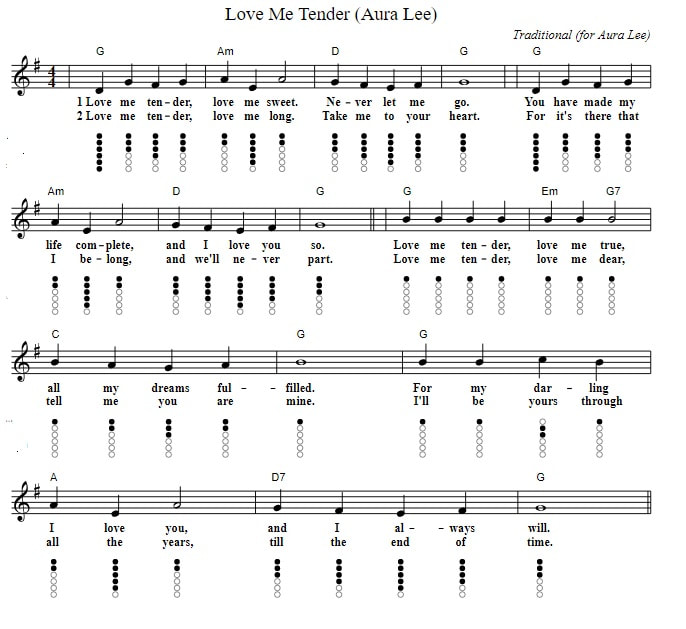 Love me tender free sheet music notes with chords and lyrics