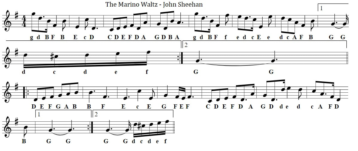 Marino waltz sheet music with letter notes for beginners