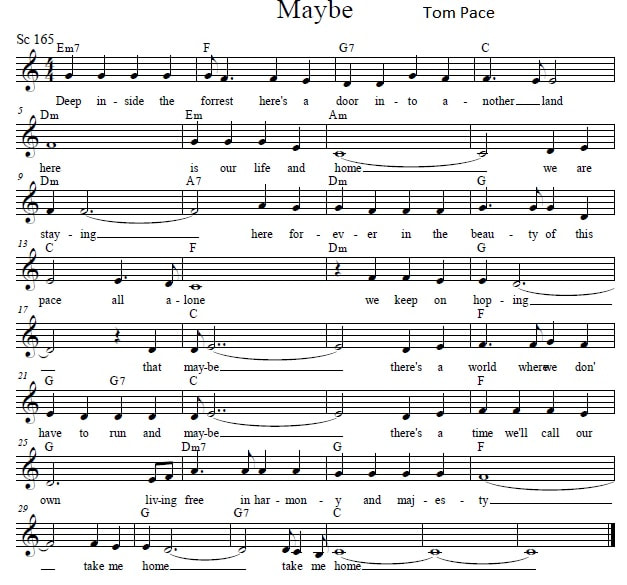 Maybe sheet music by Thom Pace from the life and times of Grizzly Adams