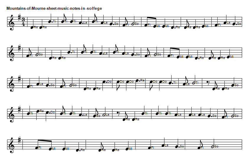 Mountains of mourne sheet music notes in do re mi solfege Do Re Mi format