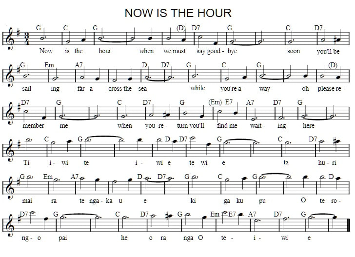 Now is the hour sheet music notes