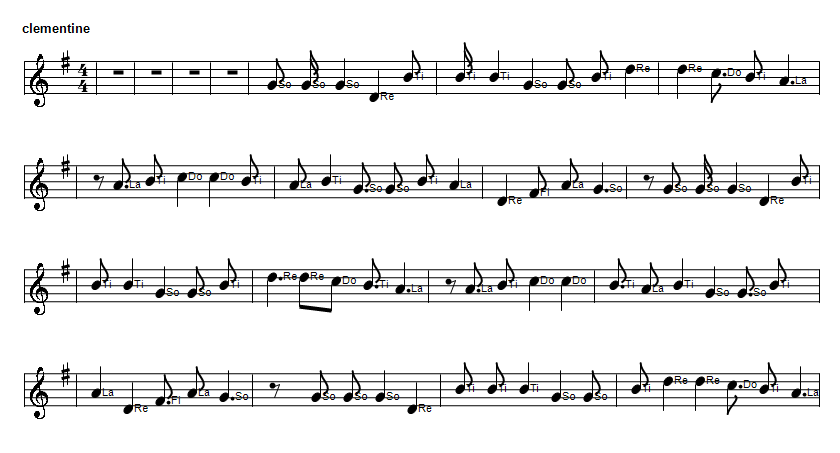 Oh My Darling Clementine sheet music notes in solfege