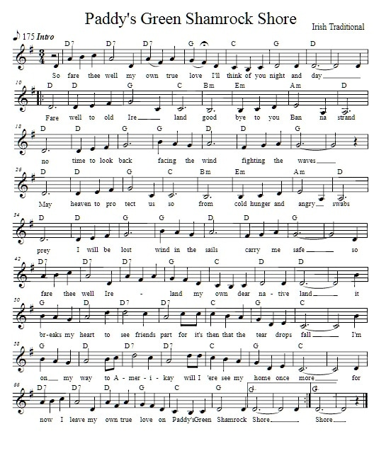 Paddy's green Shamrock shore sheet music key of  G Major