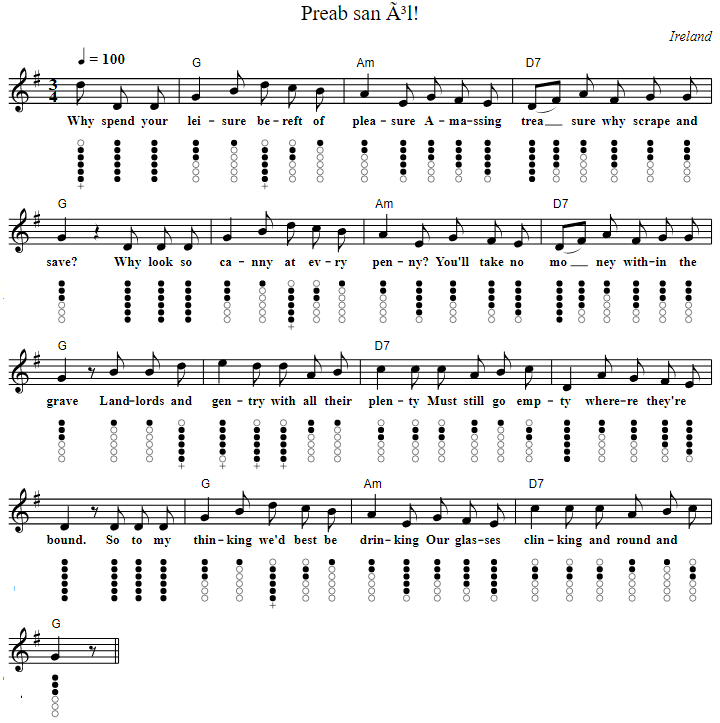 Preab san ol sheet music lyrics and chords with tin whistle notes