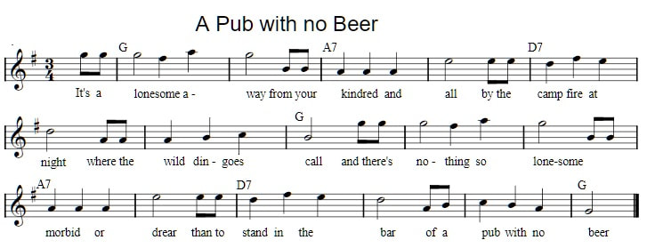 a pub with no beer free sheet music