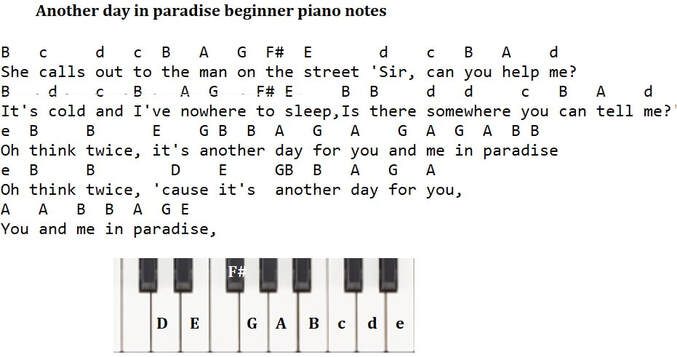 Another day in paradise piano letter notes