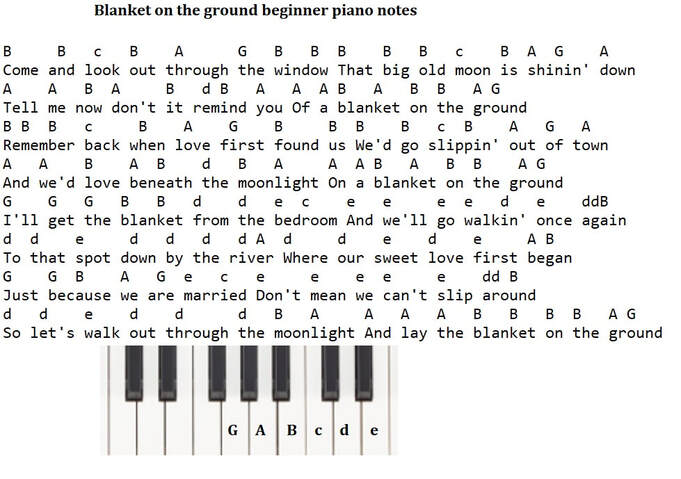 Blanket on the ground easy piano notes